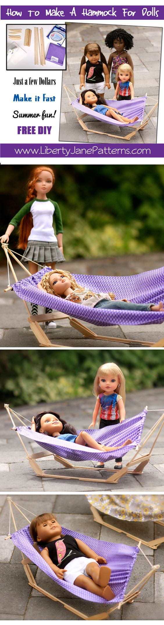 Free DIY How  to make a hammock for dolls. Video step by step tutorial. Fast, easy, cheap! #DIY #tutorial #doll #craft