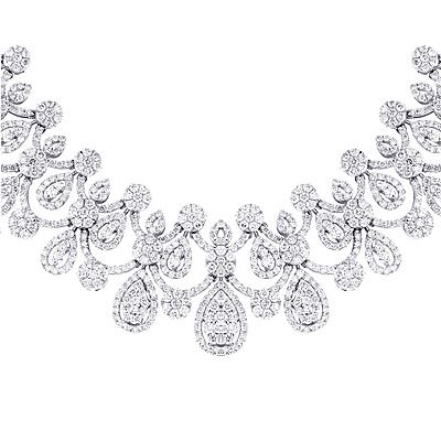 Celebrity Jewelry: This high end Ladies Diamond Necklace  in 18K Gold by Luccello weighs approximately 50 grams and showcases 22.6 carats of dazzling round diamonds. Featuring a magnificent design and a highly polished gold finish, this fabulous diamond necklace will definitely turn heads at any party and makes a great and unique gift.