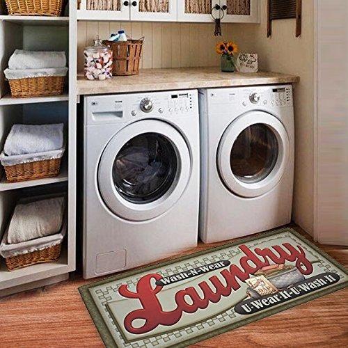 Ustide Floor Rug For Laundry Room Nonslip Rubber Backer Mat Floor Runner Durable Cheap Carpet Wate Vintage Laundry Room Laundry Room Rugs Laundry Room Flooring