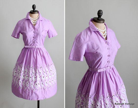 Vintage 1960s Lavender Embroidered Mad Men Shirtwaist Dress via Etsy.