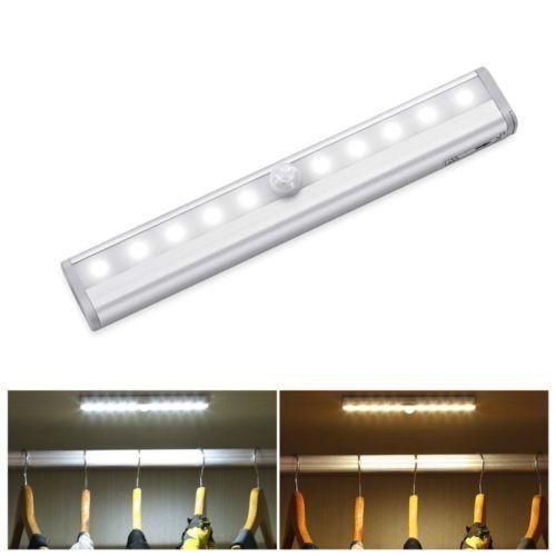 Wireless Motion Sensor Cabinet Light 10led Usb Rechargeable Drawer