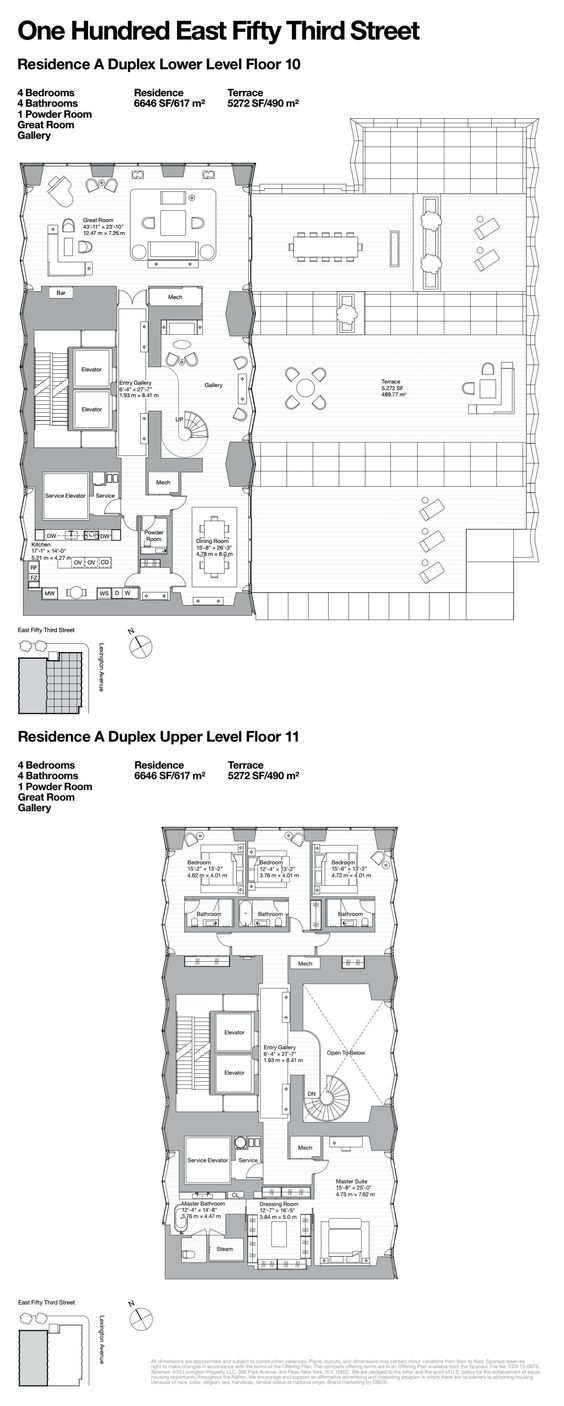 One Hundred East Fifty Third Street Residence A Duplex Floors 10 11 Condominium Apartment Plans Architecture