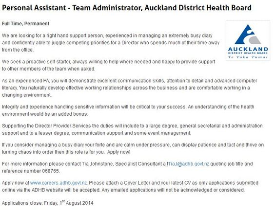Personal Assistant  Team Administrator Auckland District Health