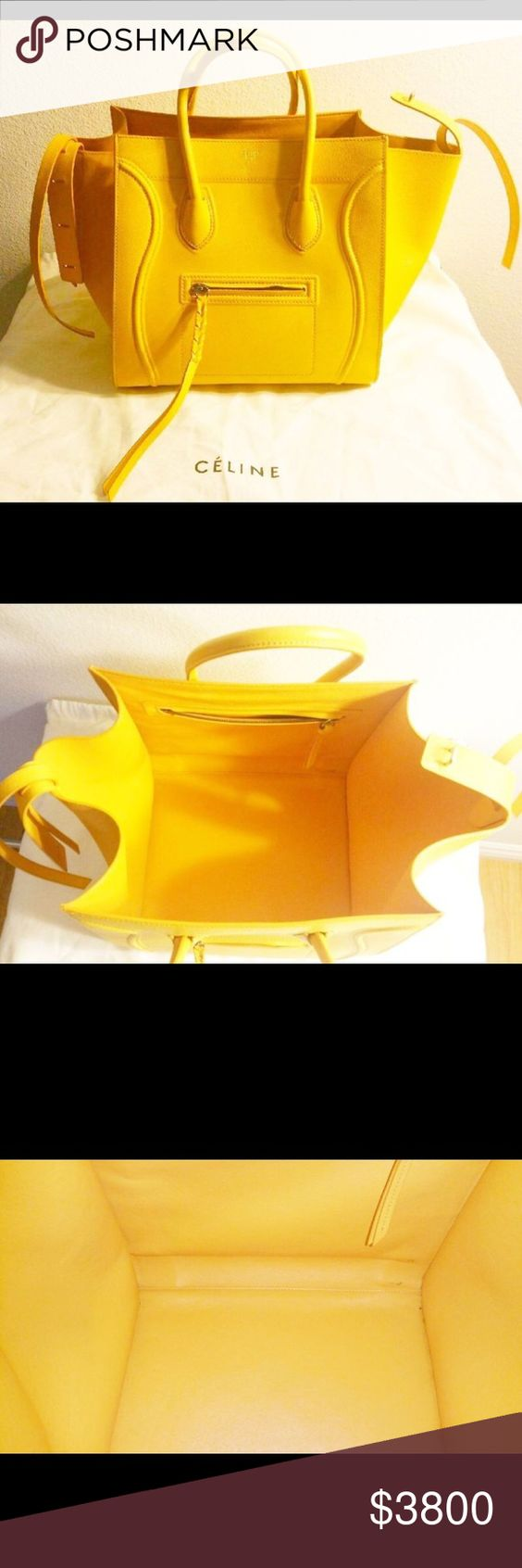 Celine Phantom Large Luggage Tote In Yellow (NEW) Celine phantom tote. Grained leather. New. Yellow in color. Celine Bags Totes