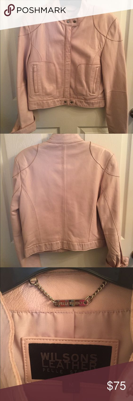 """Pearl Pink Leather Motor Jacket Loved... loved this jacket! It has only been worn once over the years. It is a limited edition """"Pelle Sudio"""" by the original Wilson's Leather. It can be worn with a skirt, jeans, leggings, or an overcoat for a Tunic. Wilsons Leather Jackets & Coats"""