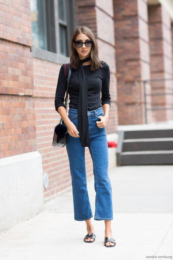 black &blue denim mix #spring #2018 #street style