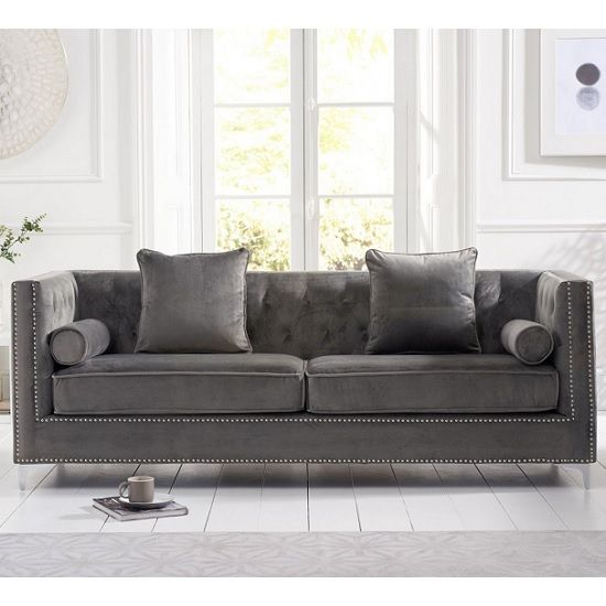 Mulberry Modern Fabric 4 Seater Sofa In Grey Velvet in 2019 ...