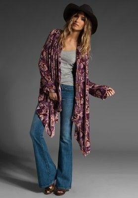 Kimono, denim wide leg jeans and wide brim. Winter Kate.