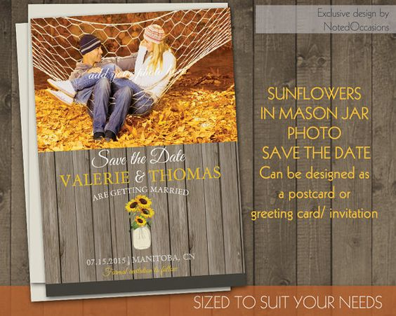 Photo Save the Date Card Sunflower Photo Invitations for Weddings ...
