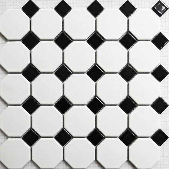 tuile de mosaque en noir et blanc mat puzzle parquet carrelage mural salle de bain carreaux