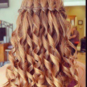 Boucles simples cheveux lisses fris s au fer blonds coiffures pinterest beautiful - Tresse en cascade ...