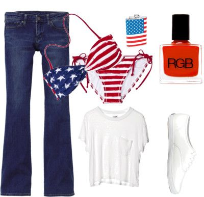 An Affordable 4th of July by callieglynn featuring white tops