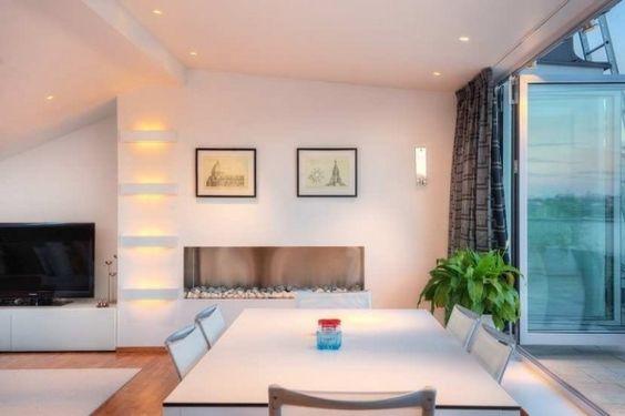 maisonette wohnung moderne kuche grüne beleuchtung | dachschräge 2, Innenarchitektur ideen