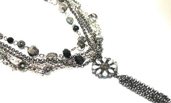 Bijoux Argolla em grafite e pedrarias #colar #necklaces