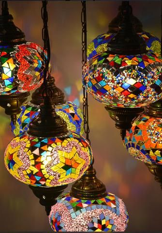 7 Globe Turkish Mosaic Chandelier Turkish Mosaic Lamp Mosaic Lamp Turkish Hanging Lamp