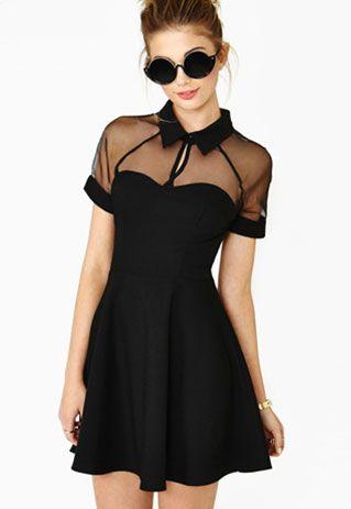 Negro manga corta Recortable malla transparente Vestido ajustado