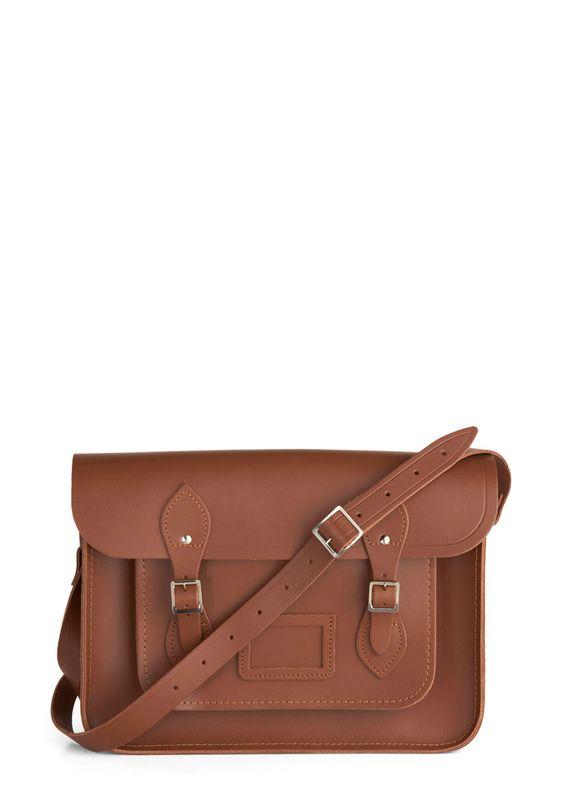 "Cambridge Satchel Upwardly Mobile Satchel in Brown - 14"" | Mod Retro Vintage Bags | ModCloth.com"