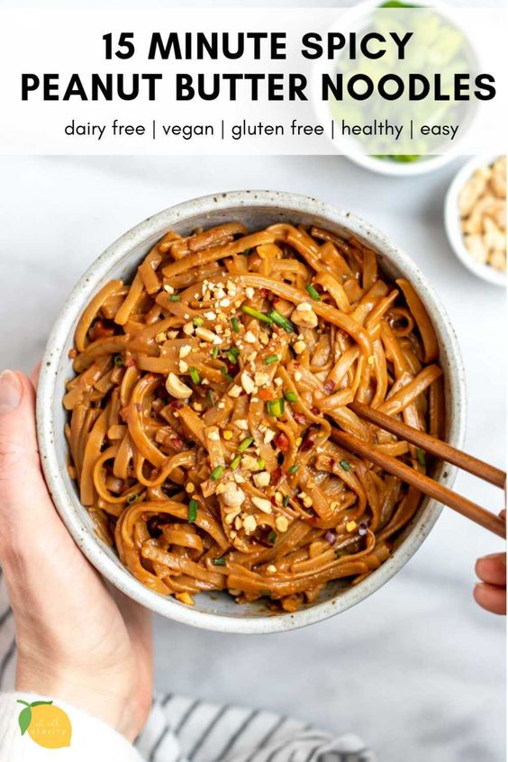 15 Minute Spicy Peanut Butter Noodles