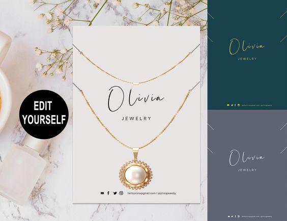 Ella Modern Necklace Display Card Template Jewelry Display Etsy Jewelry Display Cards Display Cards Necklace Display