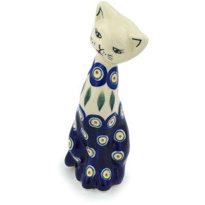 Polish Pottery 9-inch Cat Figurine | Boleslawiec Stoneware | Polmedia H1236H