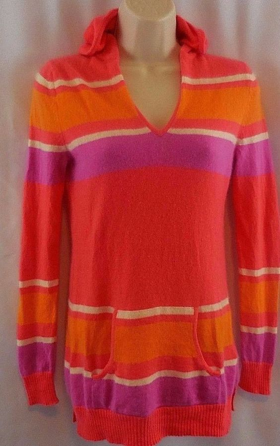 Lord & Taylor Womens XS 100% Cashmere Hooded Striped Pastel Sweater #LordTaylor #Hooded