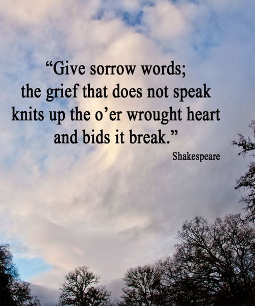 Sayings About Sorrow: Give Sorrow Words - Shakespeare Sad Quote