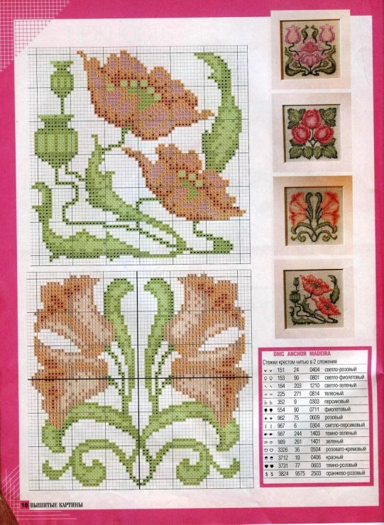 Art Nouveau Embroidery Patterns Charted for Needlepoint /& Counted Cross Stitch