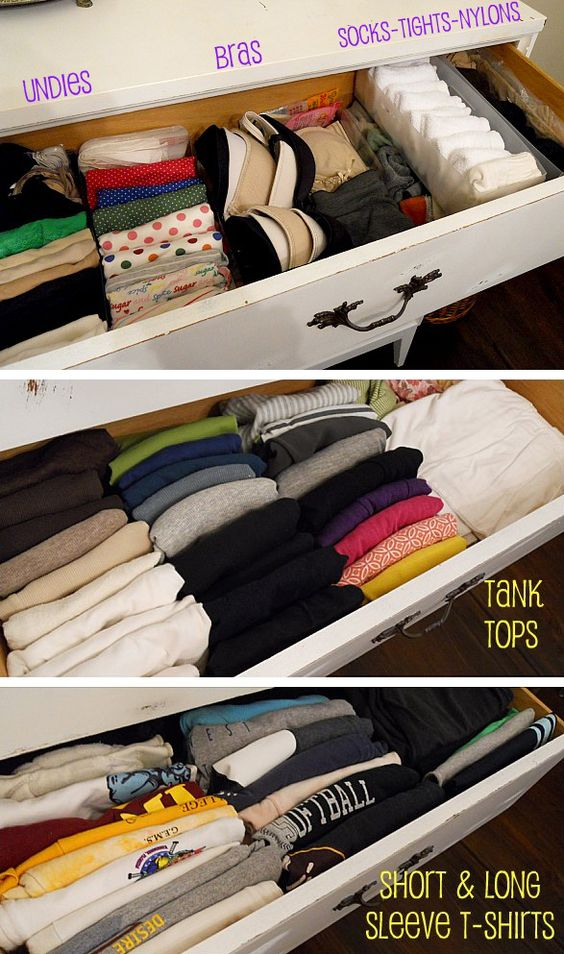 {line 'em up!} drawer organization makes maximum use of your storage space. clear plastic drawer organizers make quick work of small items like socks and undergarments. stacking tshirts and tank tops horizontally, rather than vertically, allows you to see everything at once. (note: click thru to the website and below the shirt photos is a small text link to the applicable folding video.):