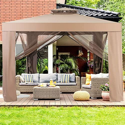The Tangkula 10 X 10 Canopy Gazebo Tent Shelter Art Steel Frame Home Garden Lawn Patio House Party Patio Garden Structures Gazebos W Mosquito Netting Brown In 2020 Gazebo Tent Patio Patio Gazebo