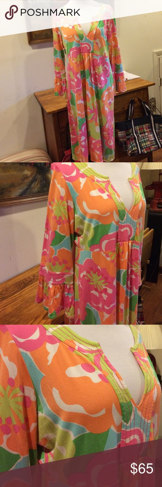 Lilly Pulitzer Dress size XL. Lilly Pulitzer Dress size XL.  Cute bright fun pattern.  73% silk 27% cotton blend.  3/4 length sleeves with ruffle edge.  .  Great condition. Lilly Pulitzer Dresses Midi