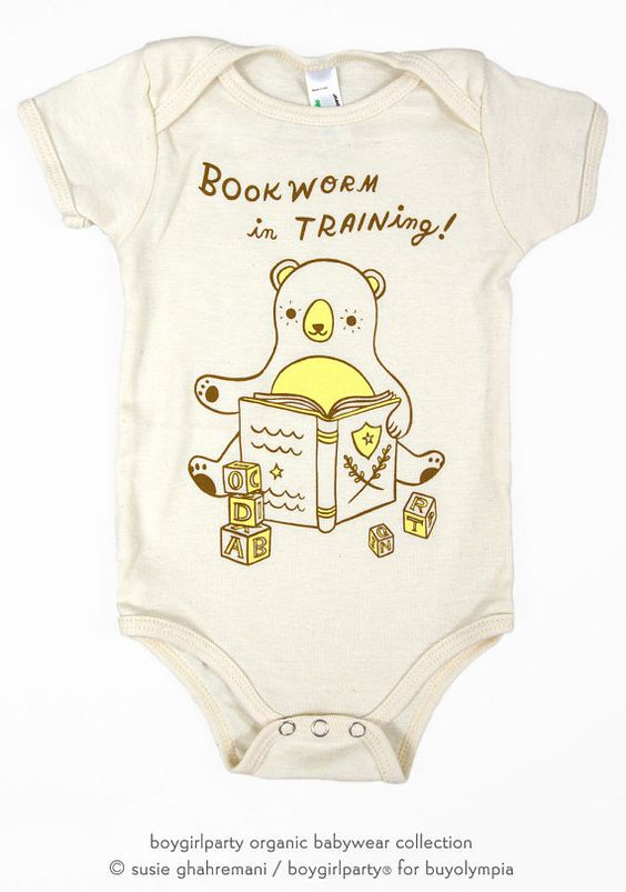 Baby Shower Gifts Organic ~ Librarian baby gift book worm bodysuit organic