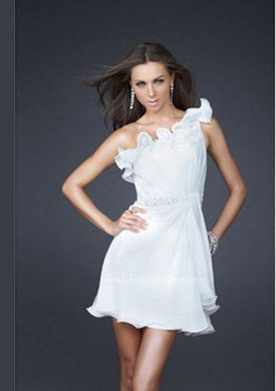 A-Line One-Shoulder Short/Mini Chiffon Charmeuse White Cocktail Dresses