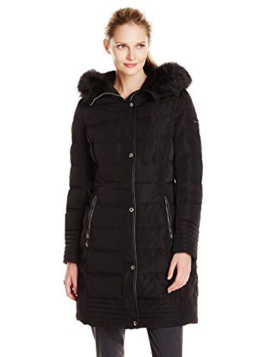 Calvin Klein Womens Mid Length Down Coat with Faux Fur Trim