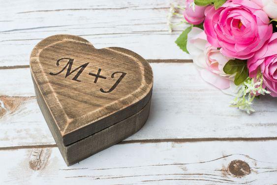 Ringkissen - Holz Ring Box Hochzeit ringkissen Ring Schatulle - ein…