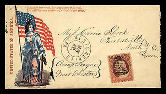 This envelope showed the sender's support for the Union cause during the Civil War. It was sent during the war's second month.