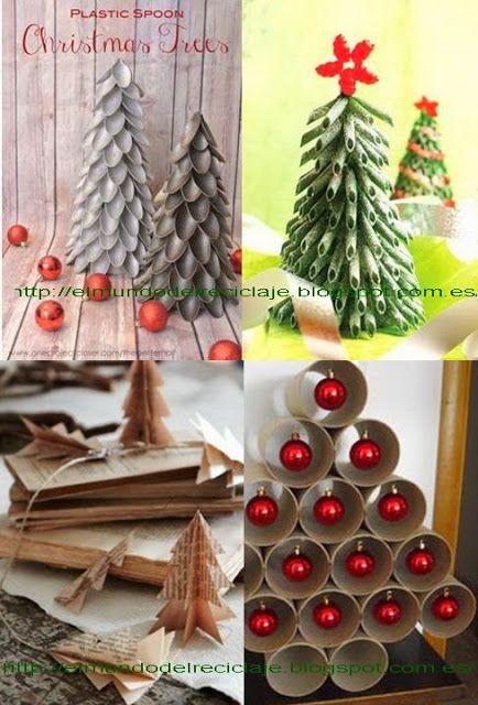 Trees navidad and book pages on pinterest - Adornos navidenos con material reciclado para ninos ...