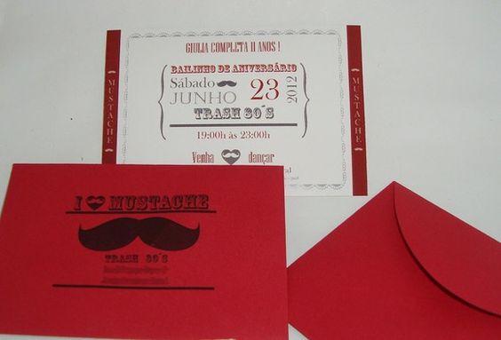 Convite Mustache pequeno (9cmx 13xm) com envelope.  O envelope é personalizado com o endereço da festa.  Quantidade mínima: 20 unidades. R$2,50