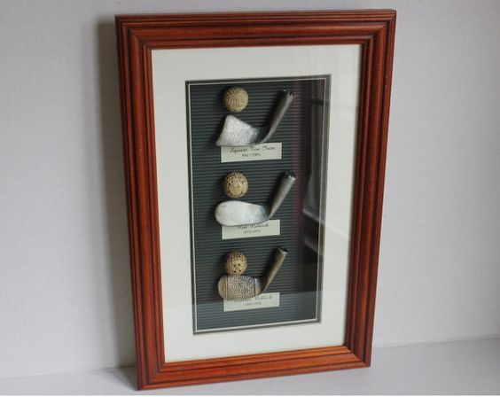 Vintage Golf Club & Golf Ball 3D History Art Exhibit Display in Wood Glass Shadow Box, Rut & Mashie Niblick, Square Toe Iron, and Balls from 1700-1910, by Treasure Realm
