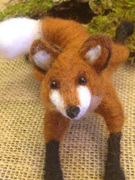 Needle felted fox Christmas gift Artist fox by weewooleybeasties