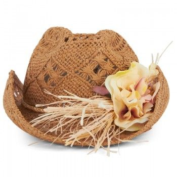 Grevi Girls Flower Applique Straw Hat | AlexandAlexa