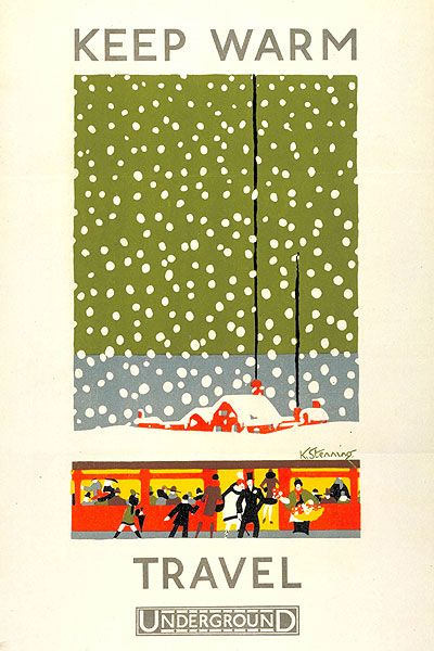 Keep Warm Travel Underground; by Kathleen Stenning, 1925. 'Keep Warm Travel Underground' was part of a four poster set to encourage people to Travel Underground, the other three posters promote use to help navigation ('Don't Get Lost') during rainfall ('Avoid the Wet') and thunderstorms ('Take Cover').