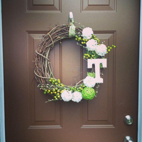 diy monogram  front door wreaths and door wreath on pinterest