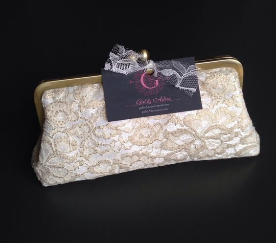 SALE - Gold and Ivory Lace Clutch by girlbyAileen on Etsy https://www.etsy.com/listing/185187491/sale-gold-and-ivory-lace-clutch