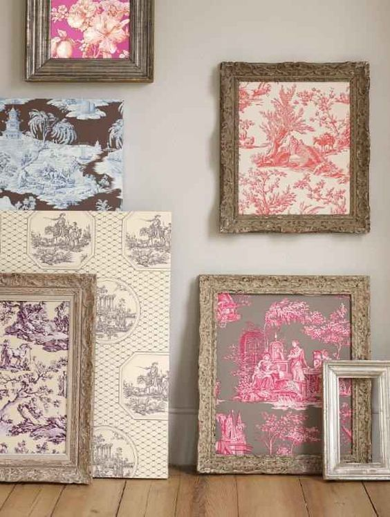 Pon muestras de papel de colgadura o retazos de tela. | 24 formas creativas de decorar tu hogar gratis