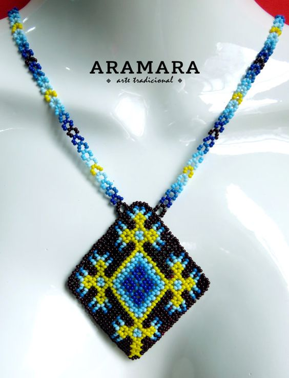Mexican Huichol Beaded Ojo de Dios Eye of God Necklace by Aramara