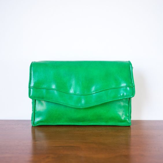 Vintage 1970s 'Melissa' kelly green clutch by Gold Crest