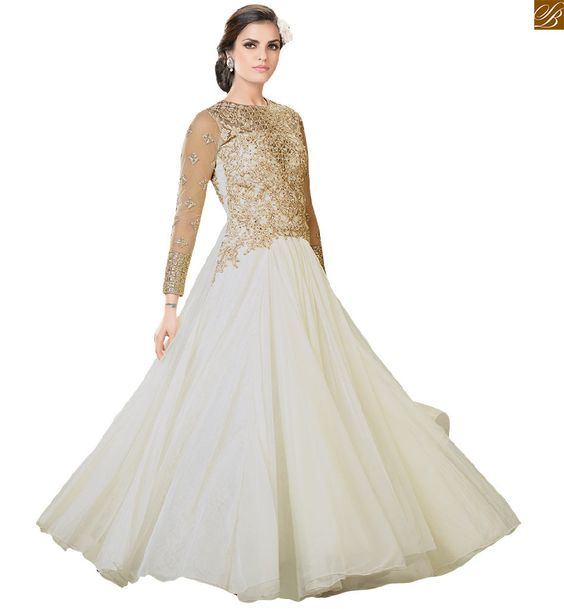 Indian evening gowns designer wear with fancy long sleeves ...
