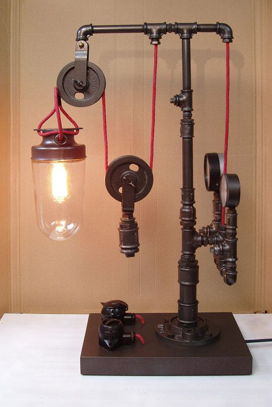 Steampunk pipe lamp on wooden pedestal with wheel 06 for Steampunk furniture diy
