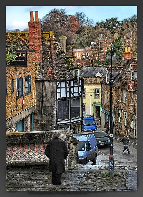 Medieval streets of Frome, Somerset, England