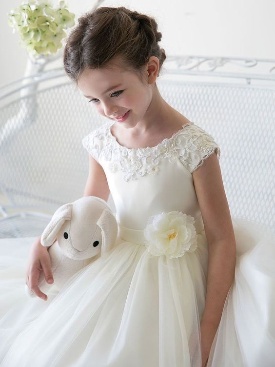 I absolutely love this one! Adorable Boat Neckline Satin Flower Girl Dress with Tulle Skirt: